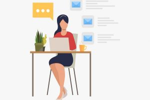 Businesswoman answering e-mail in office vector illustration. Secretary, office worker, internet communication. Business concept. Creative design for websites, business presentations, banners